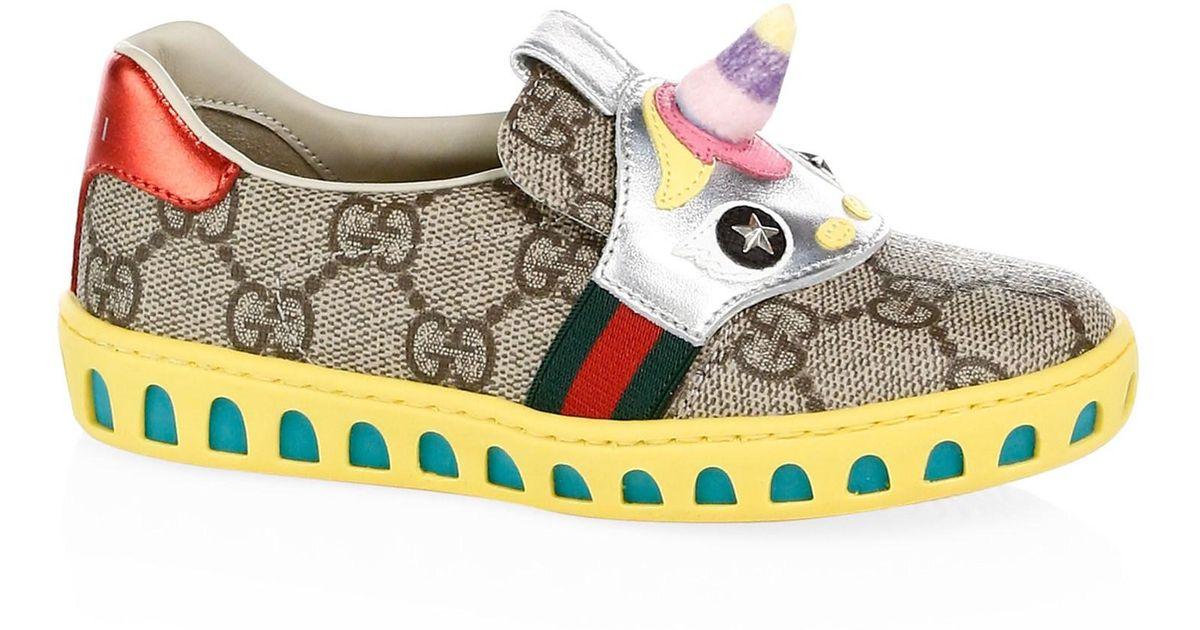 5aeb682ad33f1 Gucci Girl s GG Supreme Canvas Unicorn Sneakers in Blue - Lyst