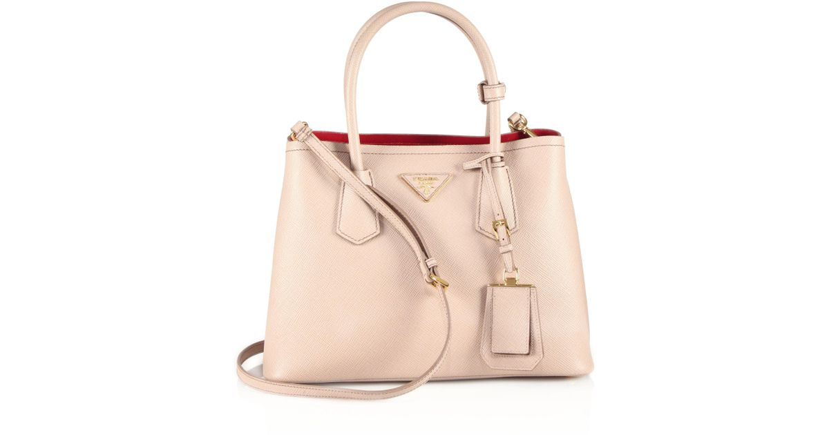 59cb50bf36f4 ... where to buy lyst prada saffiano cuir small double bag in natural 9f157  eea69