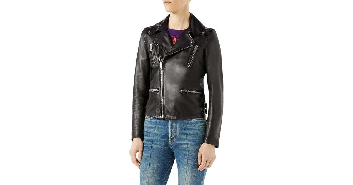 b68895ab2 Gucci Women's Loved Tiger-embroidered Leather Jacket - Black in Black - Lyst
