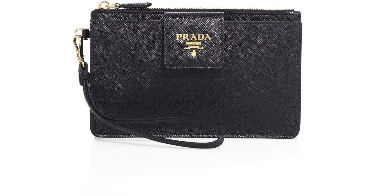 2cecb066128ac3 Prada Saffiano Leather Iphone Wrislet in Black - Lyst