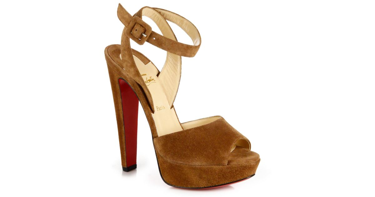 75b9ce17d091 Lyst - Christian Louboutin Loulou Dancing 140 Suede Ankle-strap Platform  Sandals in Brown