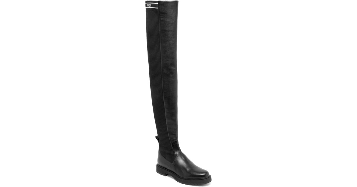 dded3a01759 Fendi Rockoko Over-the Knee Boots in Black - Lyst