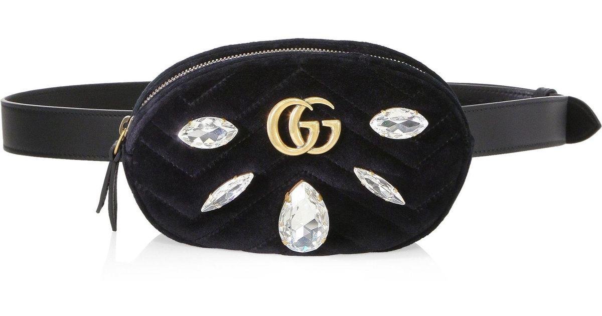 ded85af17be Lyst - Gucci Crystal Applique Velvet Fanny Pack in Black