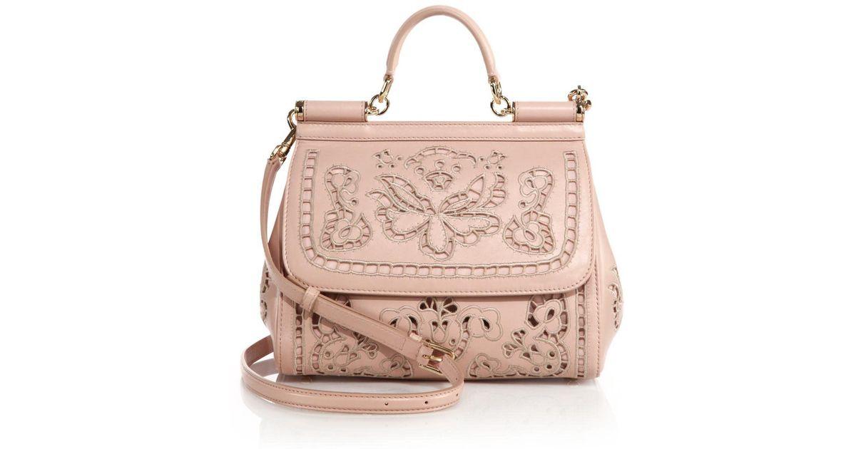 961afa118966 Lyst - Dolce   Gabbana Sicily Medium Embroidered Top-handle Satchel in Pink
