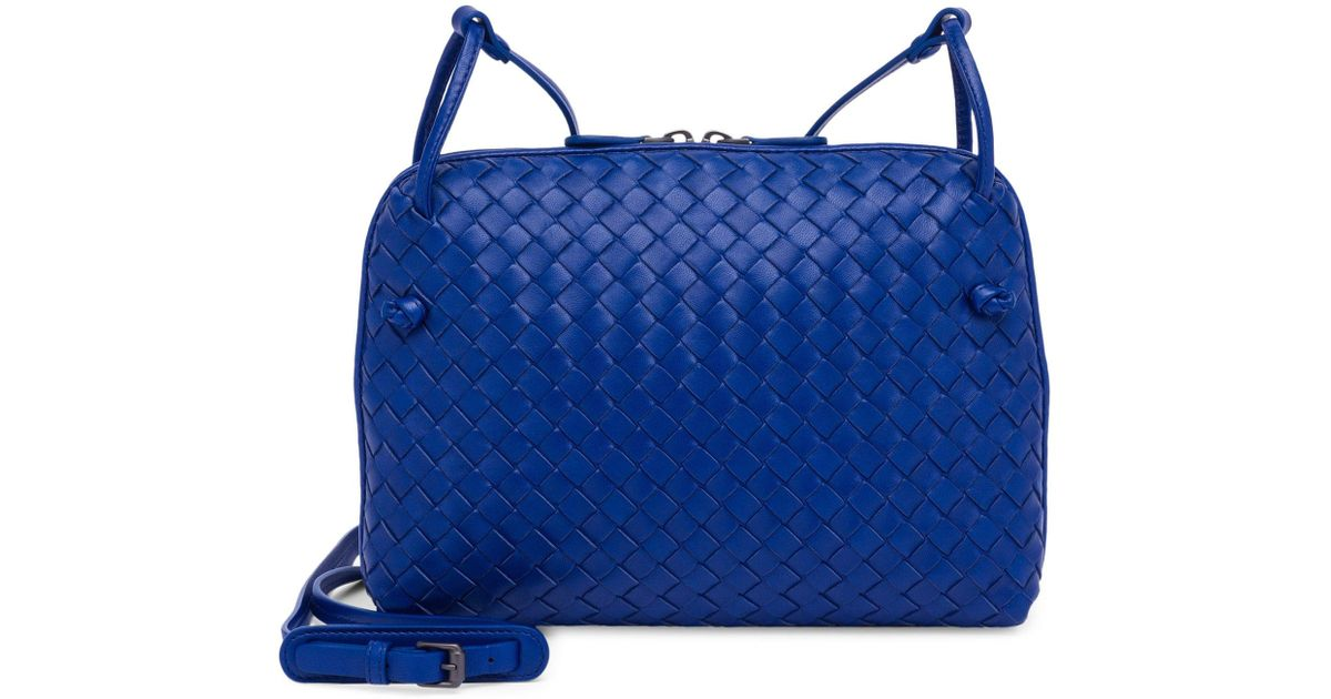 78ab583f45cf Bottega Veneta Pillow Intrecciato Leather Crossbody Bag in Blue - Lyst