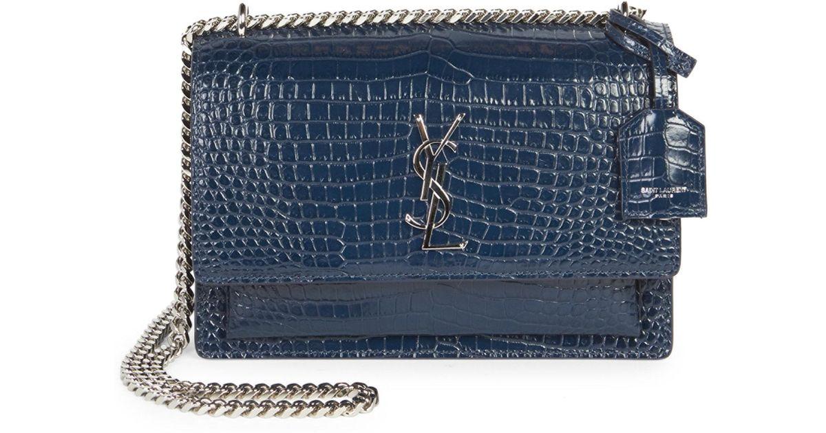 bbc8bc5f9b Saint Laurent Medium Sunset Monogram Croc-embossed Leather Chain Shoulder  Bag in Blue - Lyst