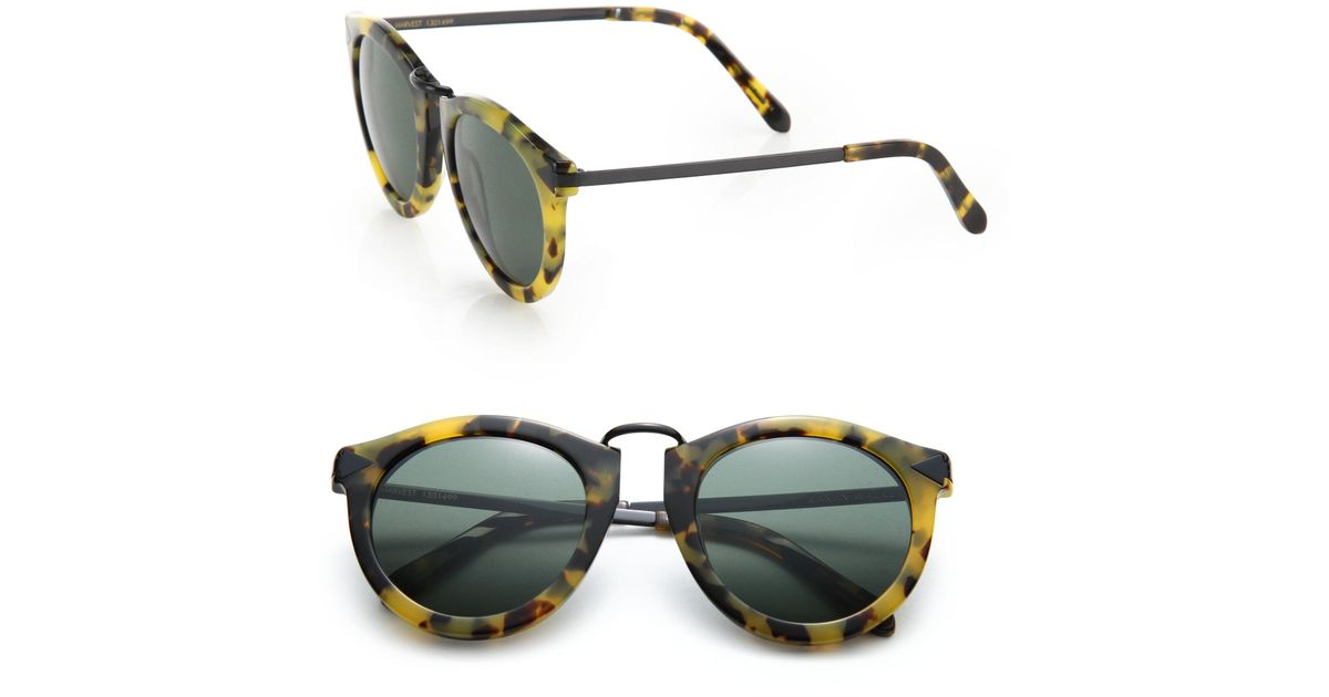 db840b19e2ff Karen Walker Harvest 51mm Round Sunglasses in Yellow - Lyst