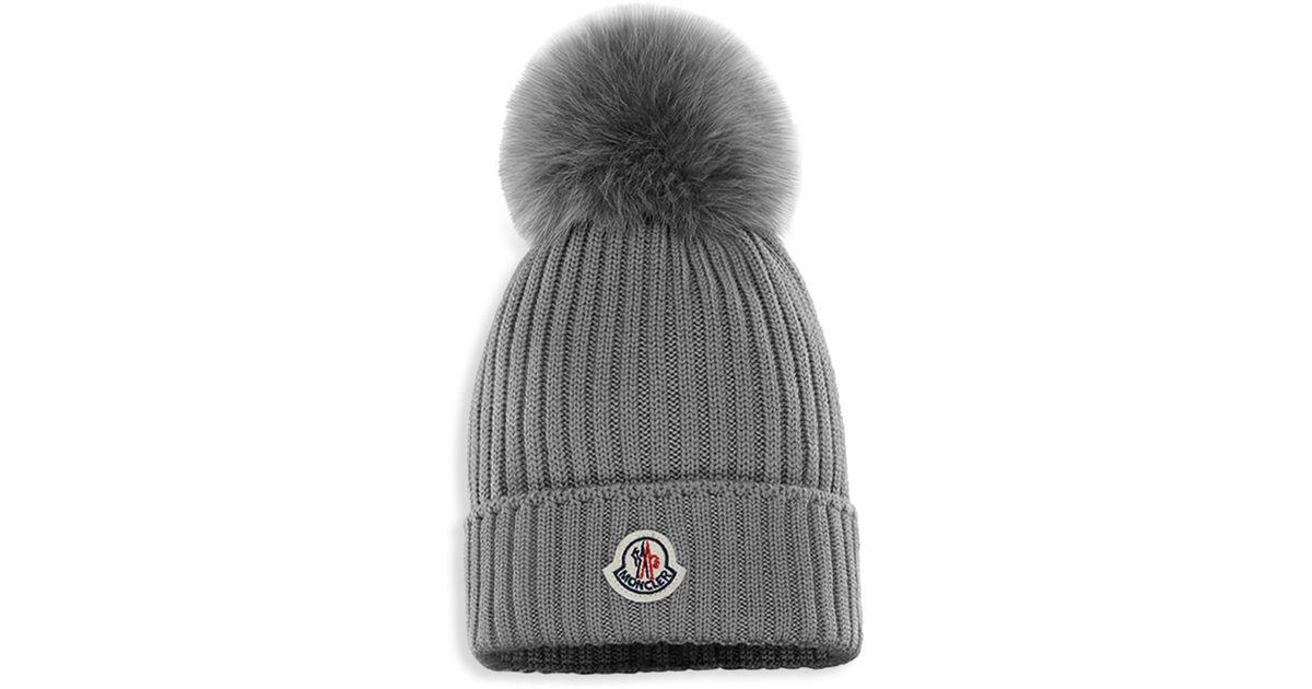 9d895609f Moncler - Gray Kid's Cashwool Pom-pom Hat for Men - Lyst