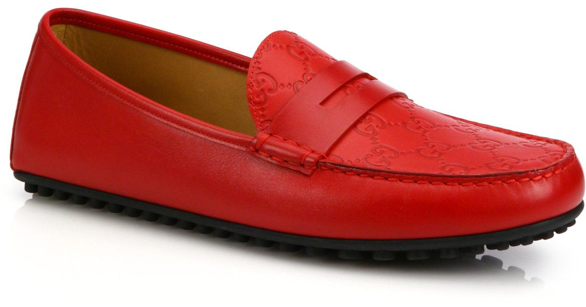7b7a09679 Gucci Kanye Leather Driving Shoes in Red for Men - Lyst