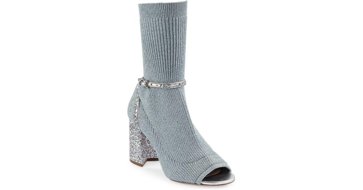 df7043fb346a Miu Miu Glitter Sock Pumps in Metallic - Lyst