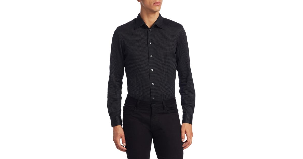 Lyst Armani Jersey Cotton Button Down Shirt In Black For Men