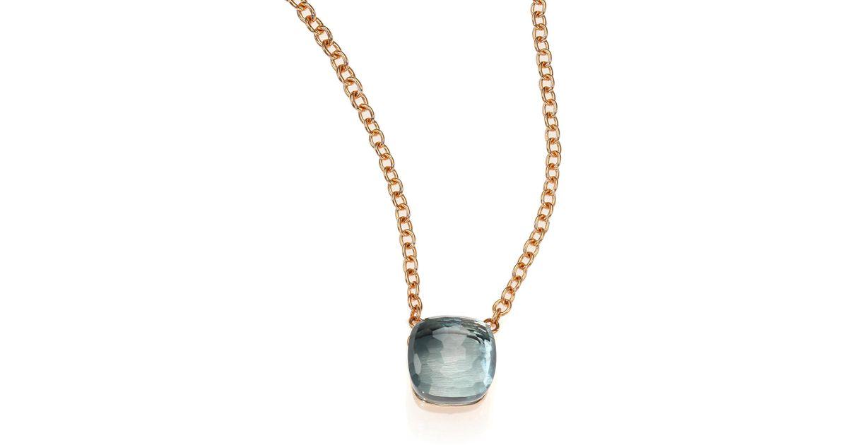 Lyst pomellato blue topaz 18k rose gold pendant necklace in blue aloadofball Choice Image