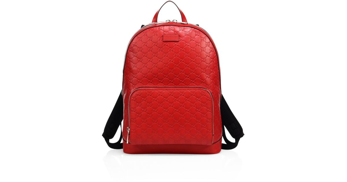Gucci Men s Signature Embossed Leather Backpack - Black in Red for Men -  Lyst