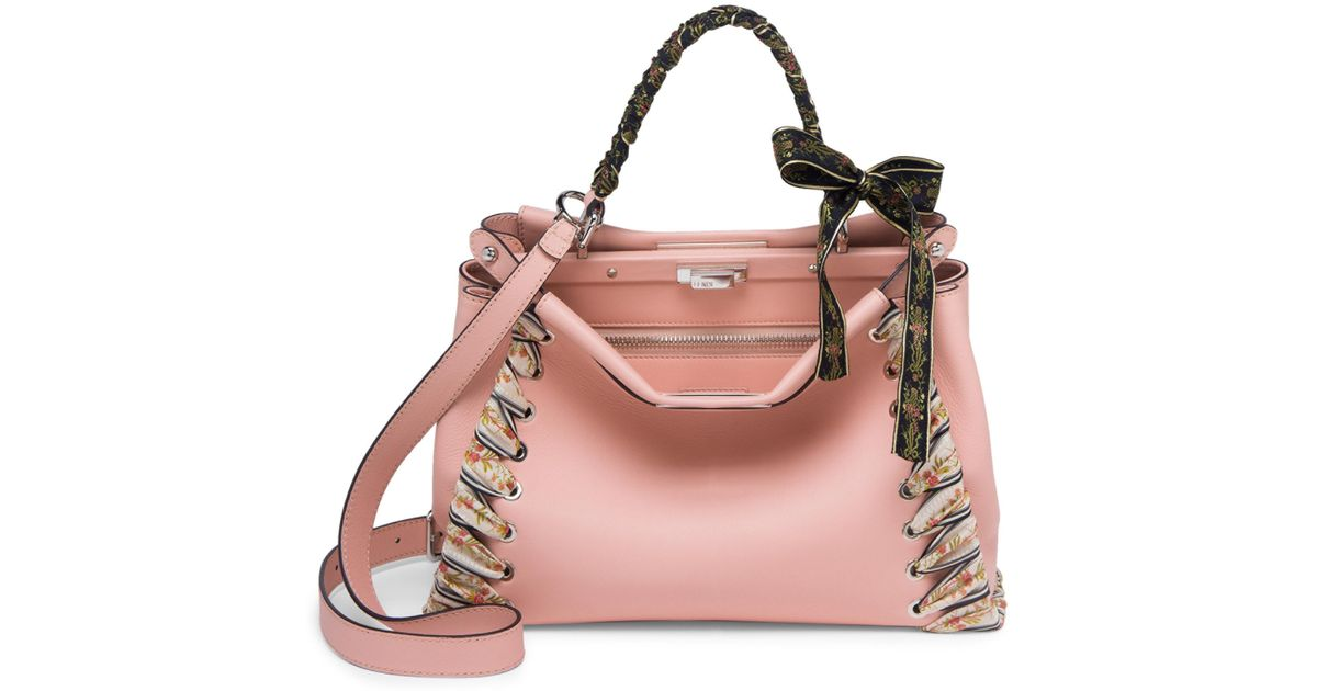 39fc898450 Lyst - Fendi Peekaboo Ribbon-laced Leather Satchel in Pink