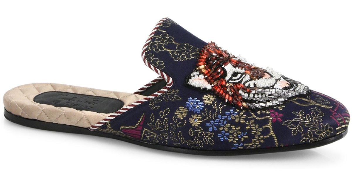21012d1ed66 Lyst - Gucci Donald Duck Jacquard Evening Slippers