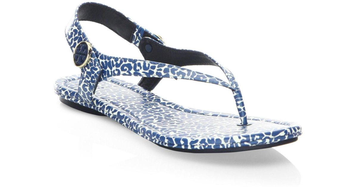 0ed8f42382d Lyst - Tory Burch Minnie Leopard-print Travel Sandals in Blue