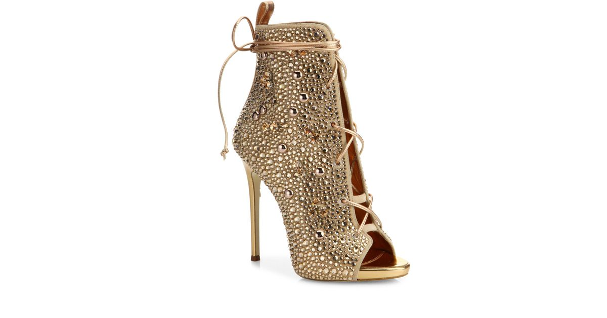 Lyst - Giuseppe Zanotti Giuseppe For Jennifer Lopez 110 Crystal-embellished  Suede Lace-up Booties in Metallic