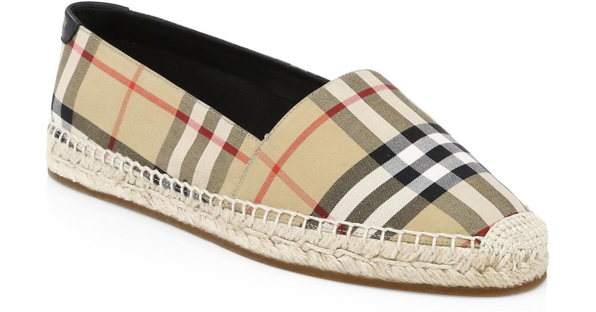 Burberry Leather & Cotton Espadrille Slip-Ons