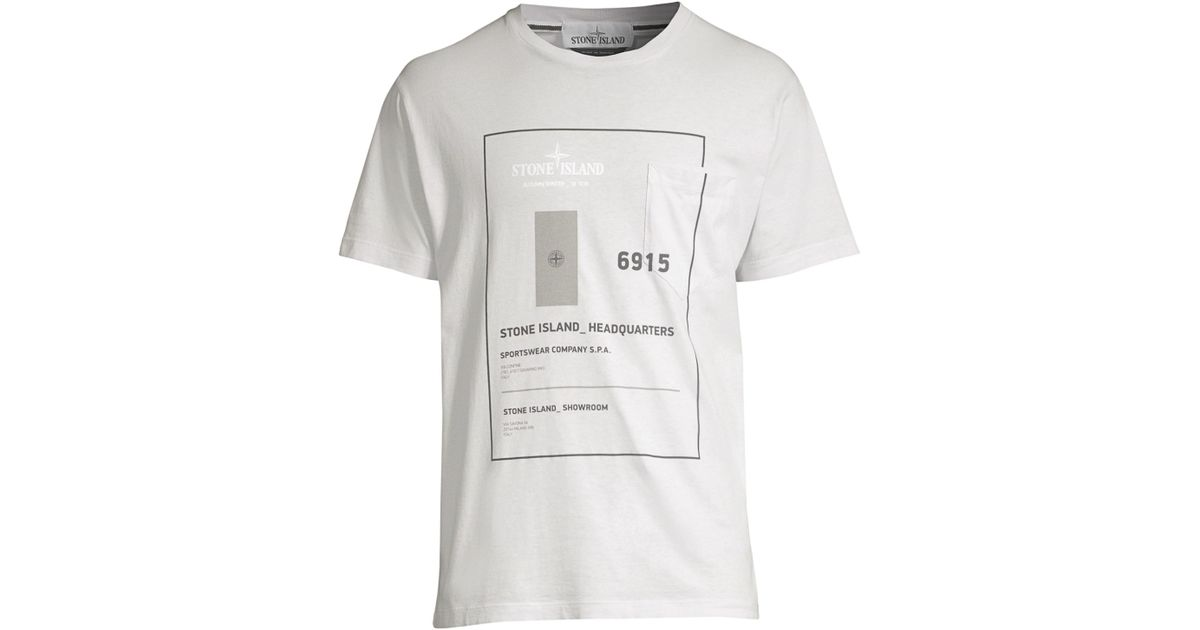 90b5aeb69 Lyst - Stone Island Hq Graphic Tee in White for Men