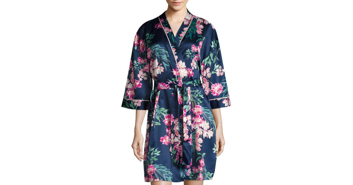 Lyst saks fifth avenue floral robe in blue save 49 for Saks 5th avenue robes de mariage