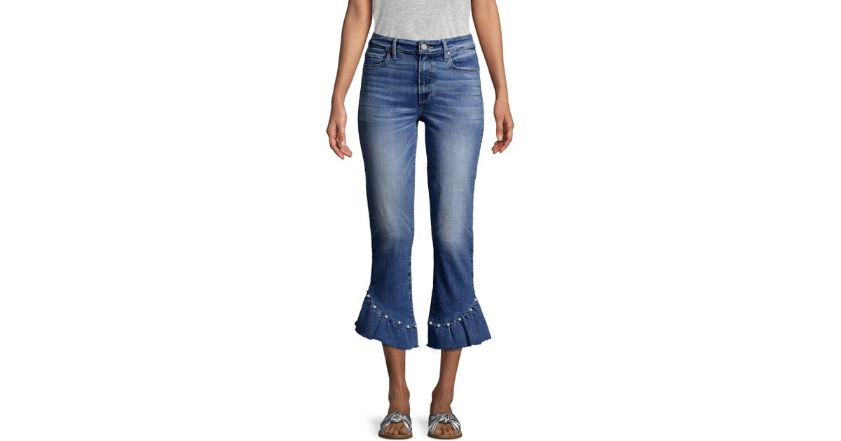 872185dfcdc PAIGE - Blue Hoxton High-rise Ankle Straight Pearl Ruffle Jeans - Lyst