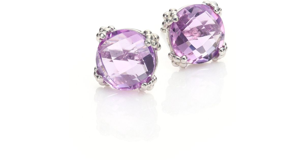amethyst asp silver sterling swirl p stud earrings