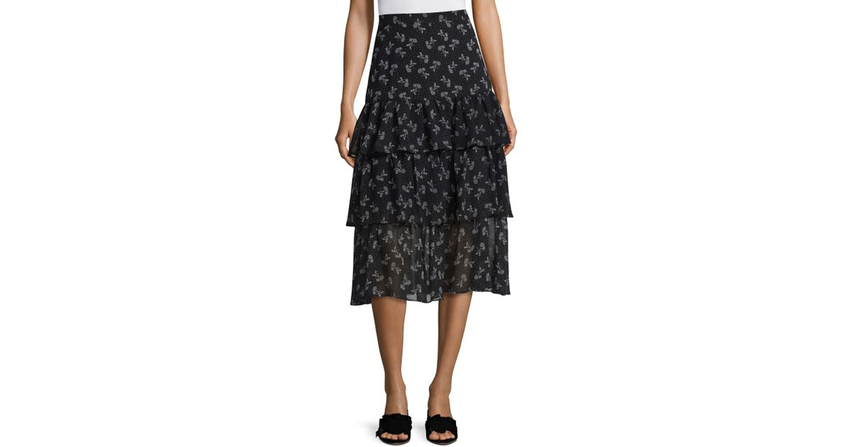 8f2892a414f The Kooples Tiered Ruffle Floral Skirt in Blue - Lyst