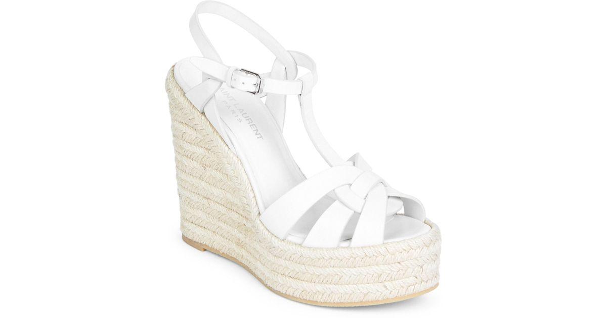 f4d86b808 Saint Laurent Tribute Espadrille Wedge Sandals in White - Lyst