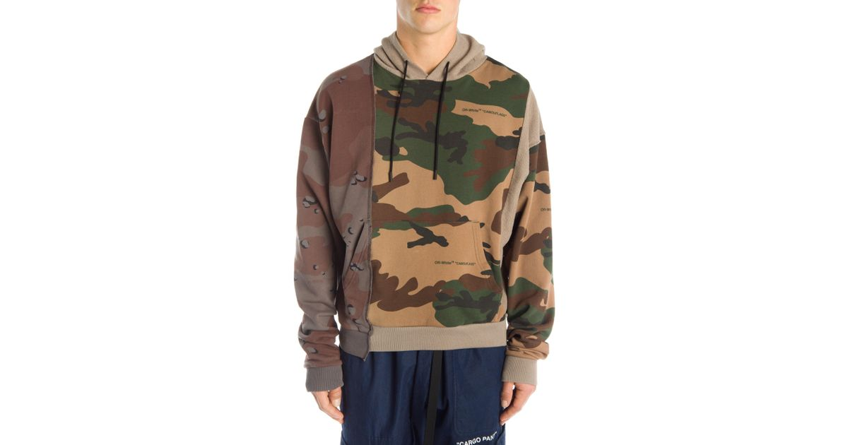 c9f3d7ef675c Lyst - Off-White c o Virgil Abloh Multicolor Camo Reconstructed Hoodie for  Men