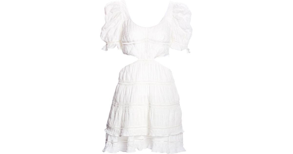 ea75d96e88 Lyst - Jonathan Simkhai Women s Lace Combo Cut Out Mini A-line Dress -  White - Size Xs in White