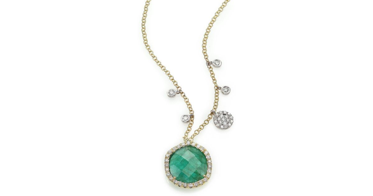 Lyst meira t emerald diamond 14k yellow gold pendant necklace lyst meira t emerald diamond 14k yellow gold pendant necklace in green aloadofball Image collections