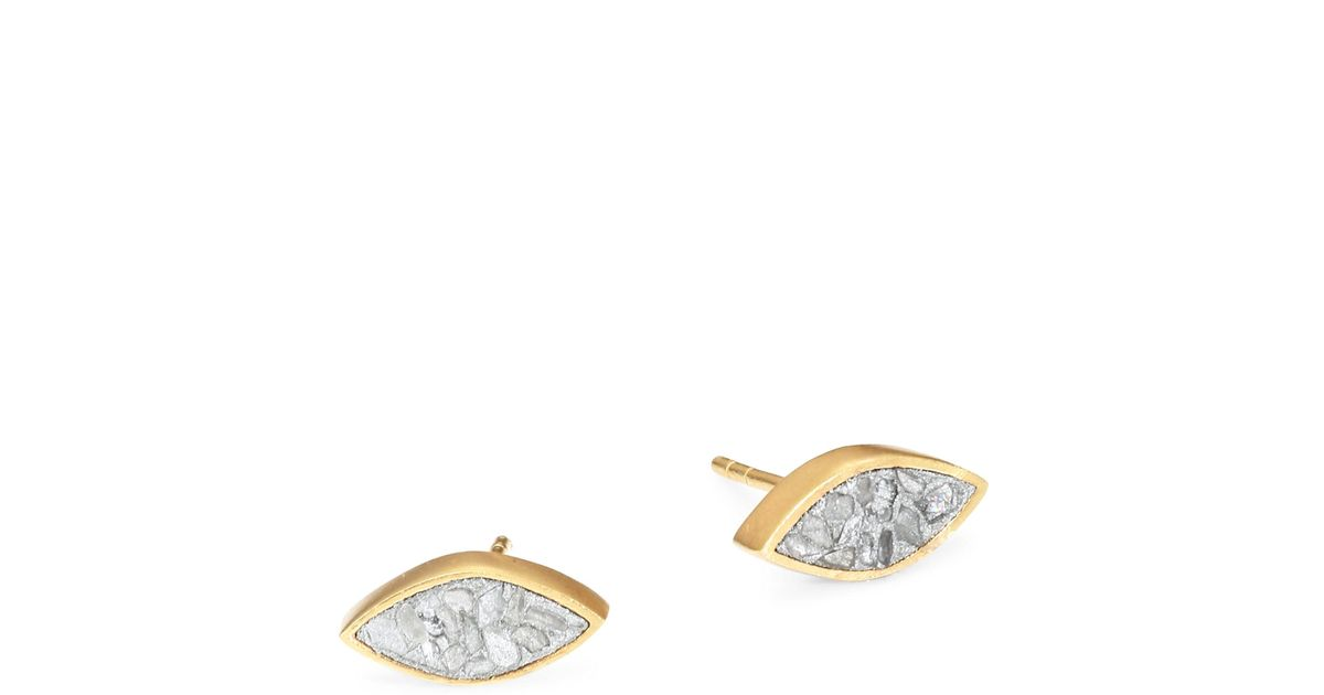 Lyst Shana Gulati Banjara Nakiya Sliced Raw Diamond Stud Earrings In Metallic