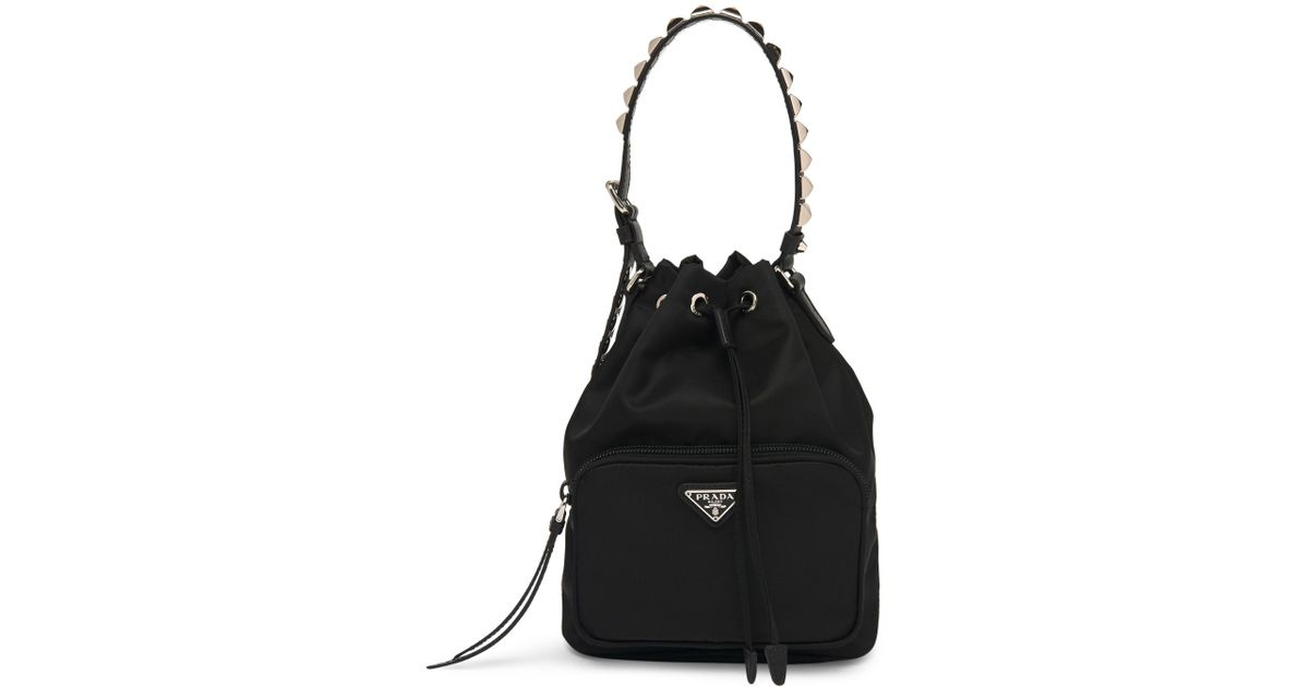 6ef79b8dd36d Prada Nylon Bucket Bag With Studding in Black - Lyst