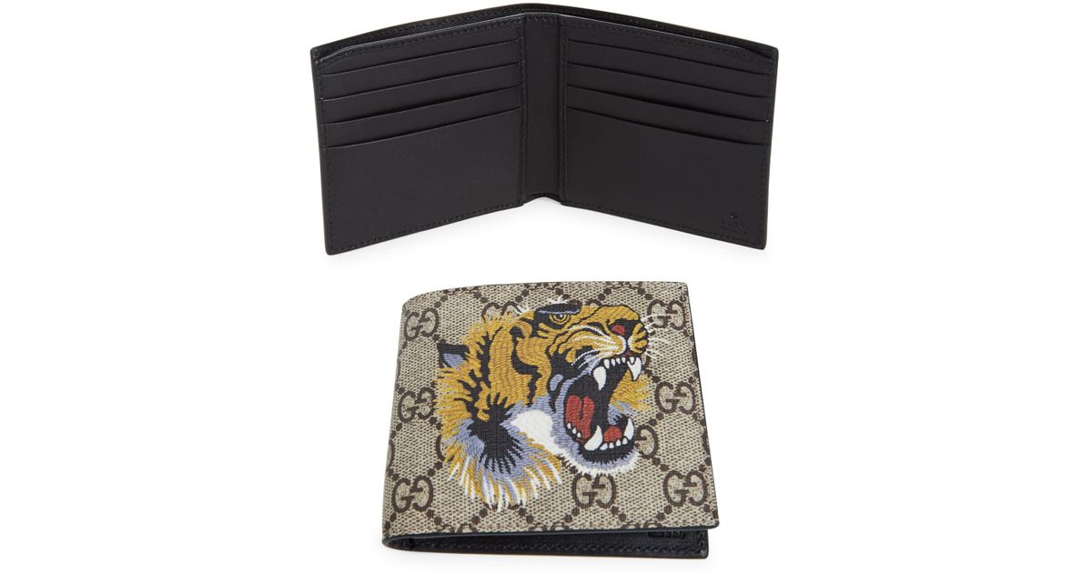 10a84f592092 Gucci Men's GG Tiger Billfold Wallet - Beige Multicolor for Men - Lyst