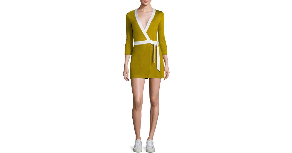 08b27854e1 Lyst - Diane von Furstenberg Celeste Two Wrap Romper in Yellow