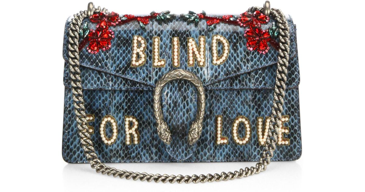 50b8742f104d3c Gucci Dionysus Blind For Love Embroidered Snakeskin Shoulder Bag in Blue -  Lyst
