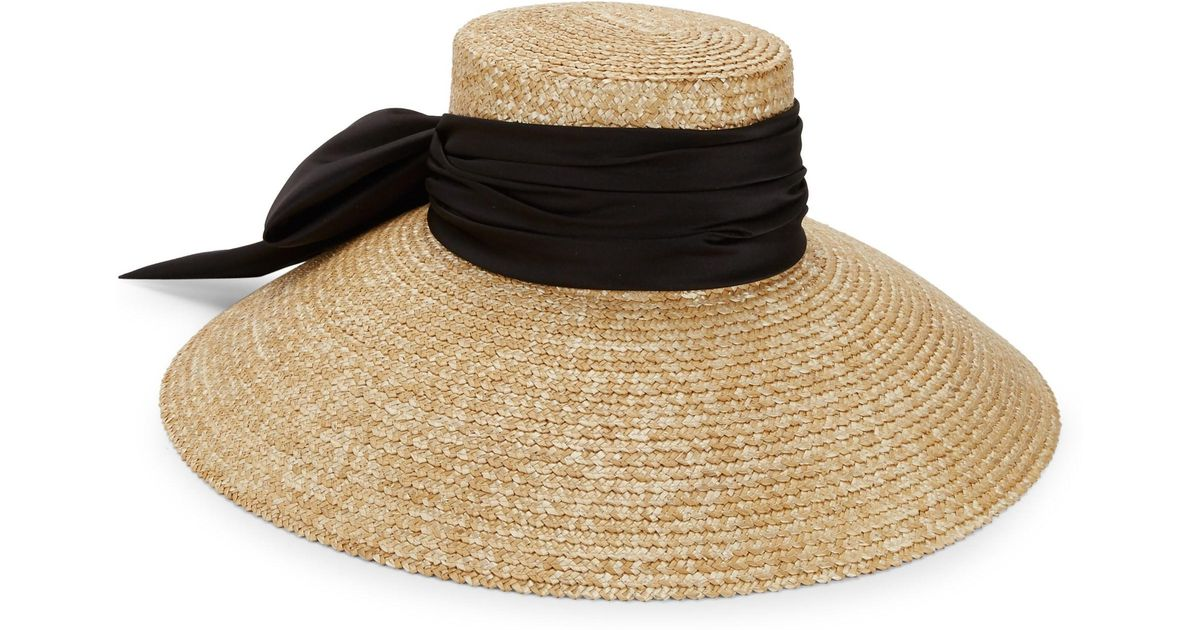 7320d3b658954 Eugenia Kim Mirabel Textured Straw Sun Hat W  Satin Bow in Natural - Lyst