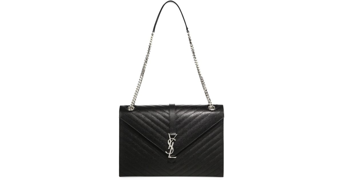 a48ac8564b5 Saint Laurent Large Monogram Matelasse Leather Chain Shoulder Bag in Black  - Lyst