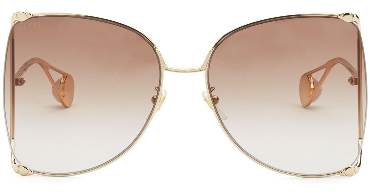 8b58def804e Lyst - Gucci Women s 63mm Butterfly Sunglasses - Gold in Metallic