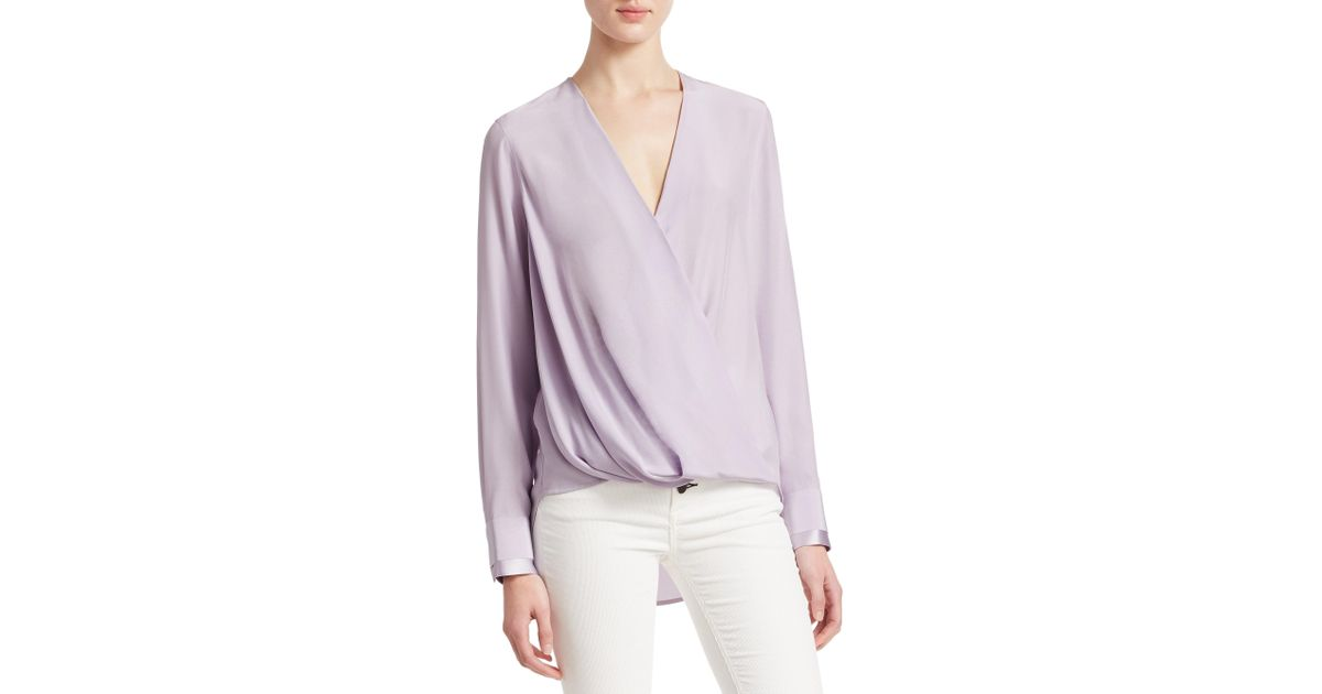 61ae35f2a9717 Lyst - Rag   Bone Victor Long-sleeve Drape-front Blouse in Purple - Save 40%