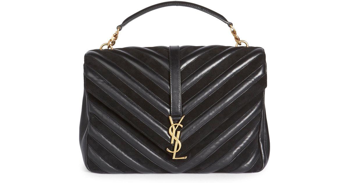 Saint Laurent Large Monogram College Matelasse Leather   Suede Bag in Black  - Lyst 7a68df1fc55b1
