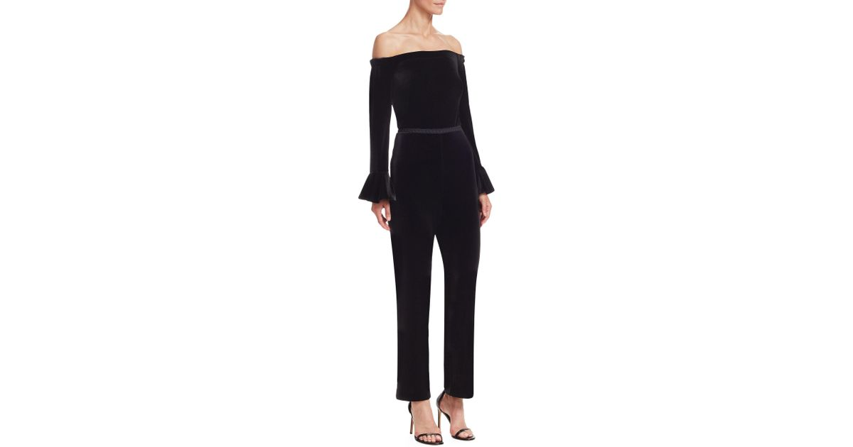 Lyst Ml Monique Lhuillier Womens Velvet Off The Shoulder Jumpsuit