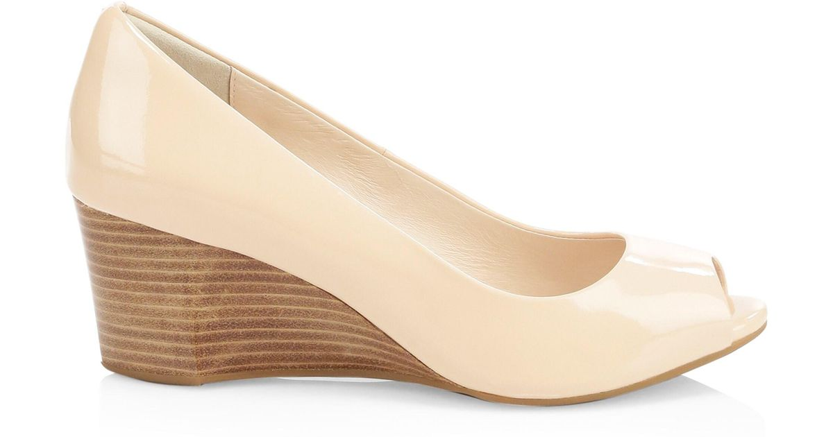 5a1392212 Lyst - Cole Haan Sadie Open Toe Wedge Sandals in Natural