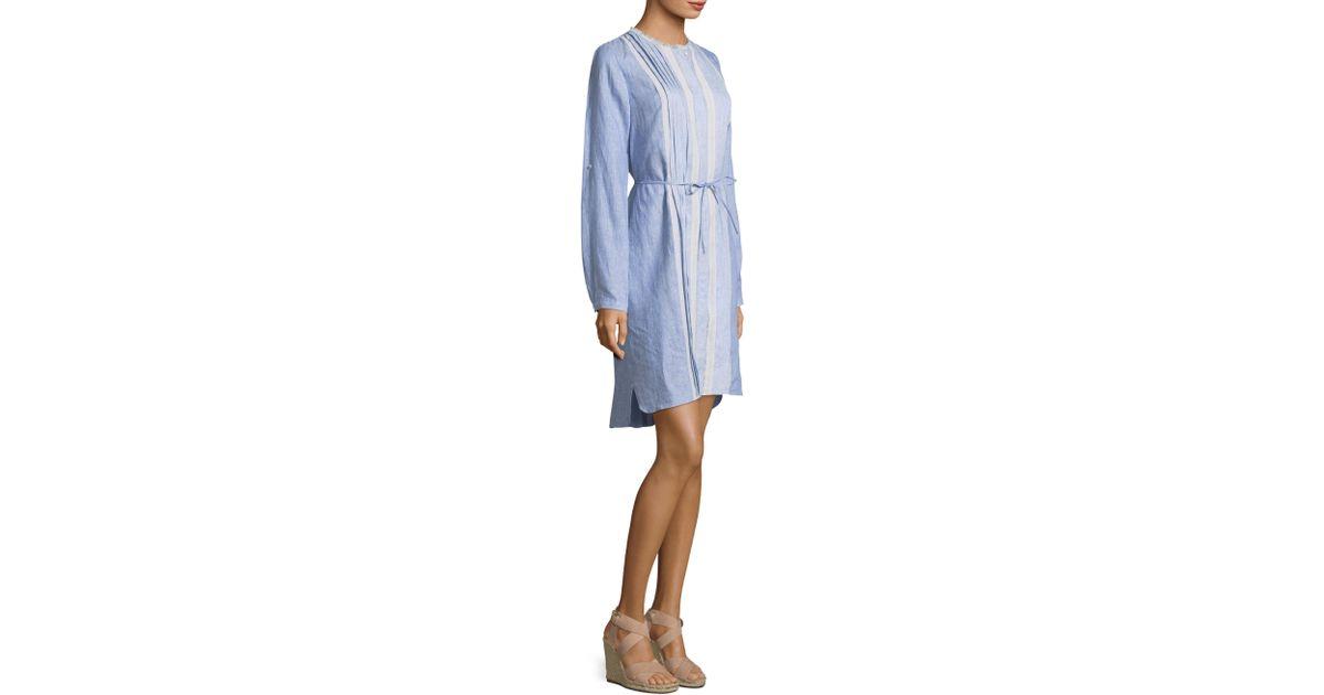 d5c5ee4b2a Lyst - Elie Tahari Luca Front Lace Linen Shirt Dress in Blue