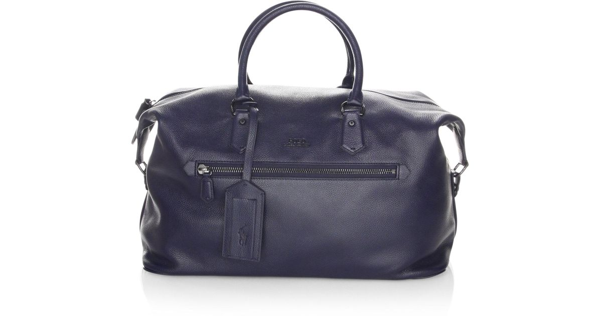 24bd92e2a95 Polo Ralph Lauren Pebbled Leather Duffle Bag in Blue for Men - Lyst