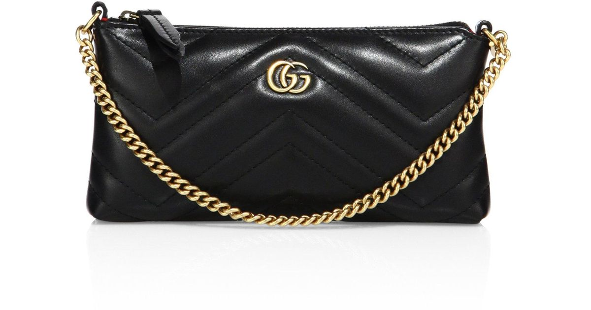 8ac77ed8d5d3 Gucci Quilted Leather Wristlet in Black - Lyst