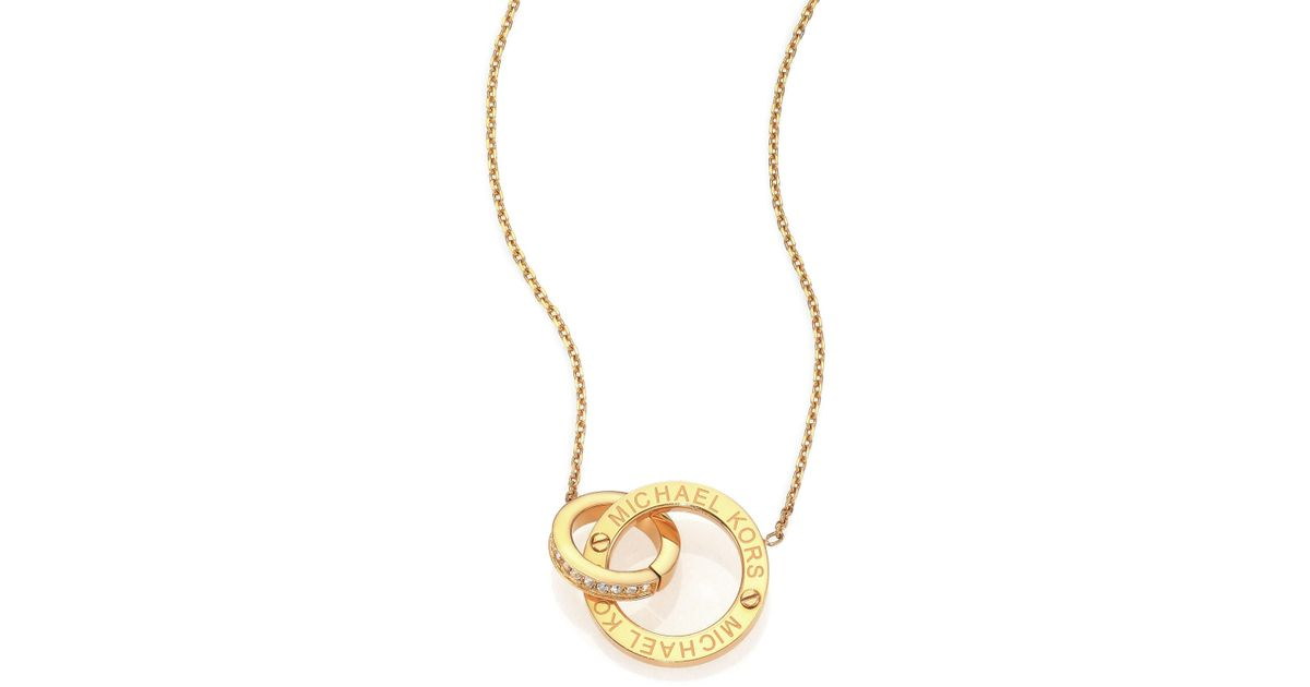 gold triangle pink pav brilliance rose necklacerose jewelry lyst michael necklace product goldtone in normal pendant motif kors paveacute