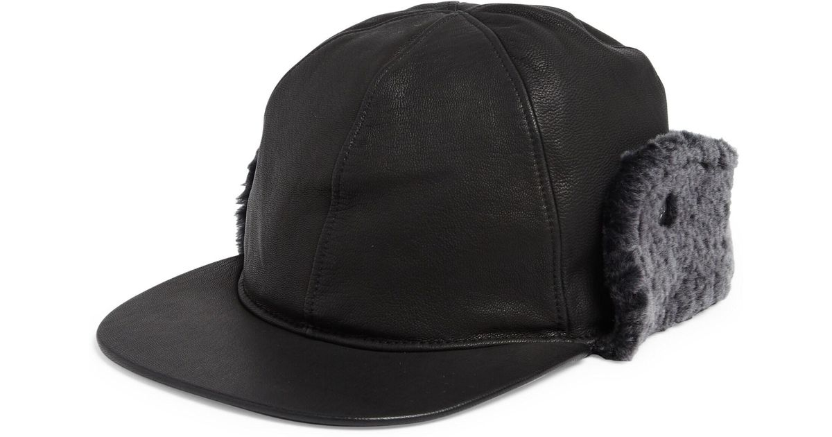 476bef120dd00d UGG Shearling-trim & Faux Fur-lined Leather Baseball Hat in Black for Men -  Lyst