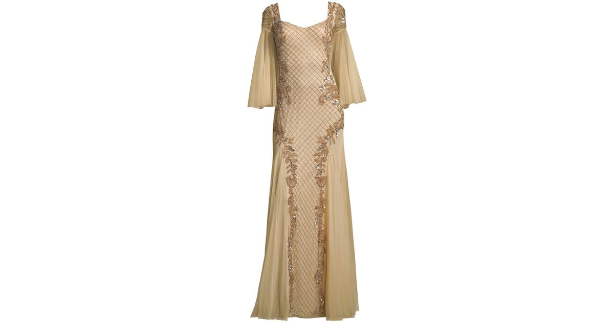 064cb429ef0 Lyst - Basix Black Label Women s Sequin Flutter-sleeve Gown - Champagne in  Natural