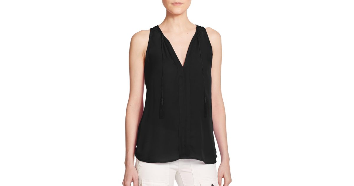 9dbbd6da62b86a Joie Airlan Silk Sleeveless Top in Black - Lyst